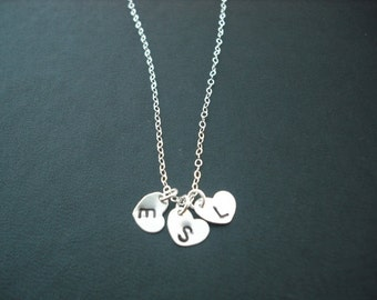 Personalized, Triple Hand stamped initial heart pendant necklace - sterling silver