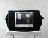 Messenger Bag - He Had Me at Hello - Vintage Photograph - School Bag - Black - Canvas Bag