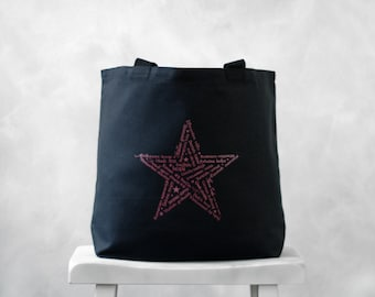CLEARANCE ~ Star of HOPE  - Typography Tote Bag - Black Canvas Bag - Black Carryall Tote - School Bag - Pink Star on Black