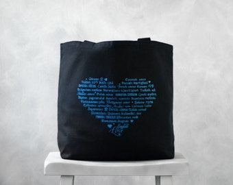 CLEARANCE ~ LOVE Languages Tote Bag - Blue Topaz Ink on Black - Canvas Bag - Carryall Tote - Valentines Day