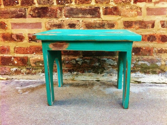 Farmhouse Footstool In Turquoise