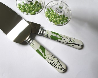 Hand painted wedding cake knives Green birds on branches