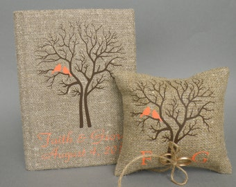Set of 2 peaces Wedding rustic Burlap guest book and ring pillow Orange Birds on Brown tree