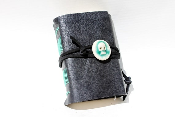 Spooky Skull Handmade Leather Journal - Wee Chunky Book with Handmade Porcelain Skull Adornment