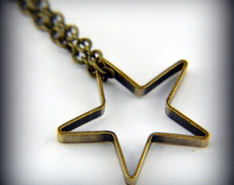Two for One Sale....Gold Star Necklace