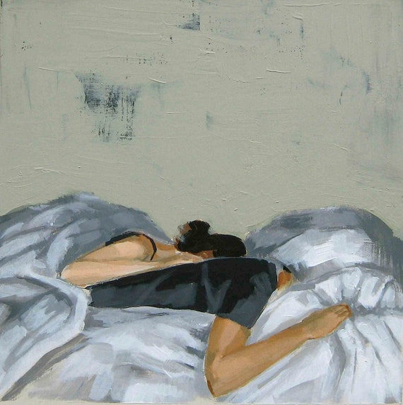 Sweet Dreams . giclee art print of couple in bed painting