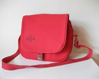 Preppy Red Canvas 80s Lands End Tote, Personalized, Vegan