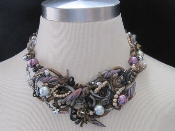 Floral Corkscrew N Vine Necklace in Purples, Golds, Grays and Black with Crystal and Pearl Elements with FREE Earrings