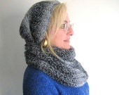 Wool Black And White Hat And Scarf Set