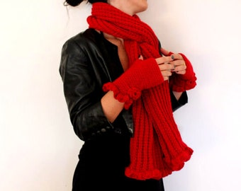 Womens Scarf, Red Scarf, Scarves, Scarf and Mittens Set, Womens Mittens, Fingerless, Knit Scarf