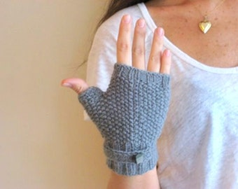 Christmas, Grey Mittens, ,Mittens ,With a Button Detail, Knitt Mittens, Handmade Mittens