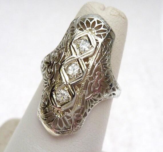 14k antique 3 filigree dinner ring by