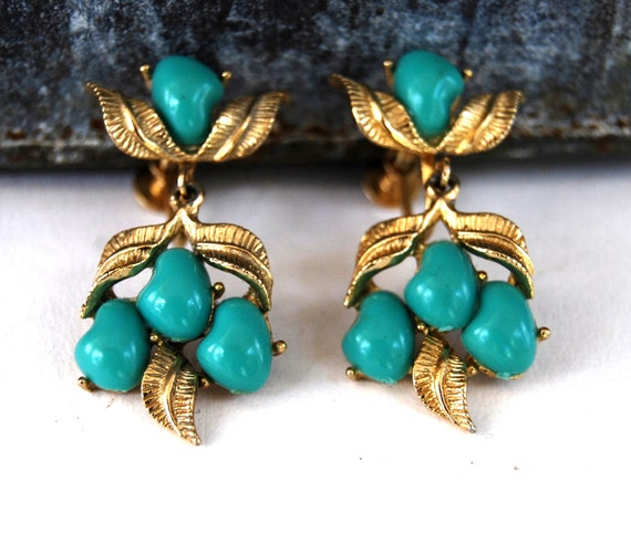 RESERVED SALE - Vintage. Faux Turquoise, Lucite and Gold Leaves, Dangle. Hanging Earrings