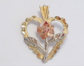 14k tri , rose white and yellow gold heart flower pendant diamond cut accenting