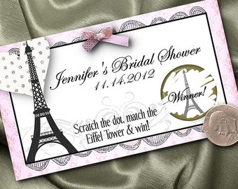 10 Party Scratch Off Cards, Paris Eiffel Tower, French Theme, Bridal Shower, Wedding, Birthday, Baby Shower, Pink & Black