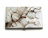 Business Card Case Hand Painted Enamel Taupe and White Quartz Inspired Metal Wallet Custom Colors and Personalized Option