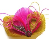 SALE PINK PUCKER Peacock Feather Hair Fascinator Clip Lemon Yellow and Hot Pink with Vintage Rhinestone for Bride or Bridesmaid