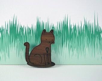 Wooden Kitty Brooch - Cat Brooch - Laser cut walnut