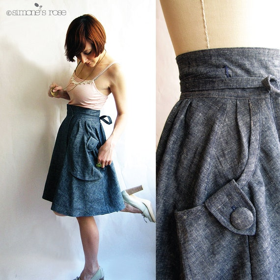 hemp and organic cotton denim high waist skirt with pockets