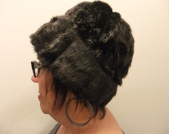 Vintage Hat Faux Fur Black Retro Winter Accessories Winter Cold Weather
