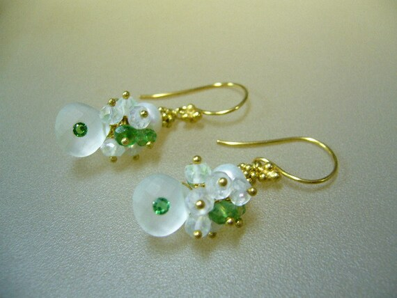 Emerald Moonstone Gold Wire Wrapped Earrings