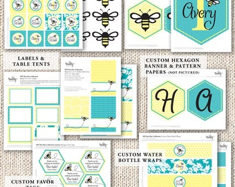 Bumble Bee Birthday Party Decor — 1st Birthday — Kid's Birthday — Bee Baby Shower Party Decor —  Printable Party Decor — Happy Bee-Day