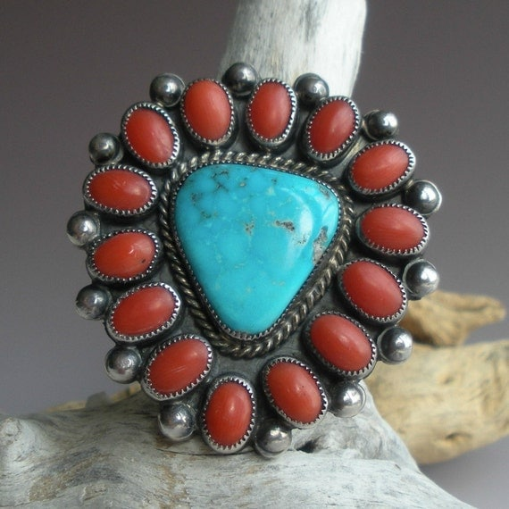 Coral Turquoise and Sterling Ring
