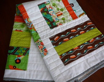 Wheels Baby Boy Quilt from Riley Blake, Green Orange Brown White, Handmade Patchwork, Cars Trucks Scooters