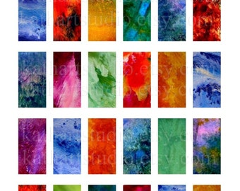 Instant Download - Printable Digital Collage Sheet Bright Grunge Backgrounds - 1x2 inch for pendants, glass tiles 329