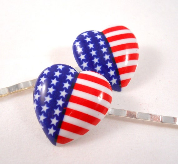 American Flag Accessories Bobby Pins Set of 2 Red White and Blue Hair Accessories Made in USA Flag Heart Hair Pin Set Patriotic 4th of July