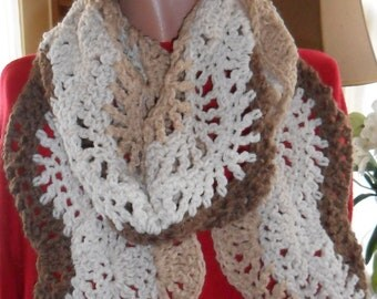 Crocheted Scarf - Wrap -  Neckwear- - Cowl - Shawl- Cape - Accessories - Women's Wear   ''OCEAN WAVES''   in Soft Tans