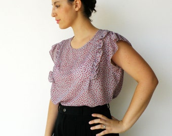 Vintage Late 1960s Dots and Ruffles Blouse / Size L XL