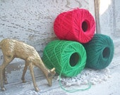 Vintage Twine Red and Green Spools Decoration