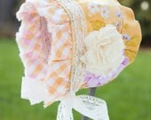 Reversible Baby Bonnet in Lavender and Yellow, Ready to Ship by Punte Bella