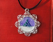 Pendant - Original -  Watercolor - Art - Handmade - Silvertone - Little Tree