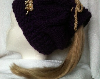 Knit Ponytail Hat, Decorated, Ear muffs built in