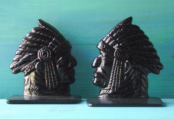 Cast Iron Native American Indian Bookends in Black/Fathers Day /Dad