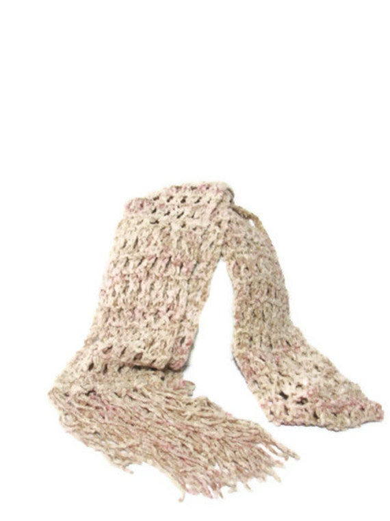 Sale Autumn Rose Hand Knit Scarf - Pink