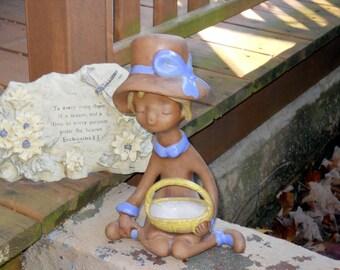 Vintage Little Girl Statue Porcelain Bisque