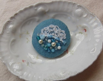 Blue Felt Pin Brooch with Beads, Lace & Sparkle