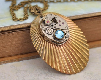 steampunk SHELL NECKLACE vintage brass shell pendant with watch movement