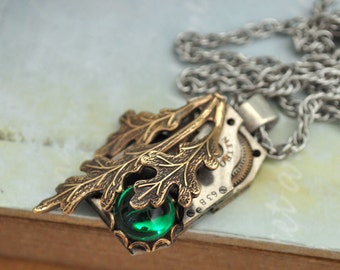 ENCHANTED FOREST steampunk antiqued brass oak tree leaf necklace with vintage watch movement