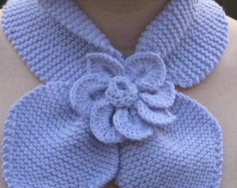 KNITTING PATTERN Neck Warmer, Scarf, Scarflette  - Includes crocodile flower instructiions PDF