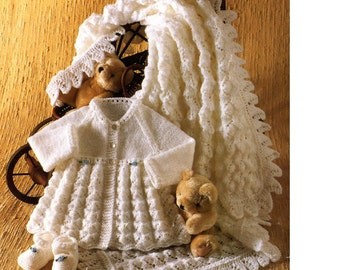 Baby KNITTING PATTERN Matinee coat, shoes and shawl for baby -  dk and 4ply