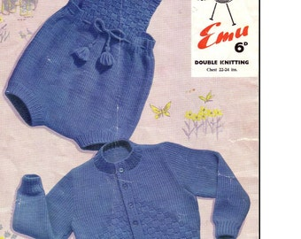 BABY KNITTING PATTERN - Baby's romper and Jacket/Cardigan Set 22-24 inch