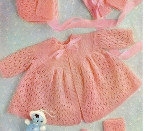 Download - Baby Knitting pattern - Matinee Jacket, Bonnet, Mitts and Booties - 2 sizes