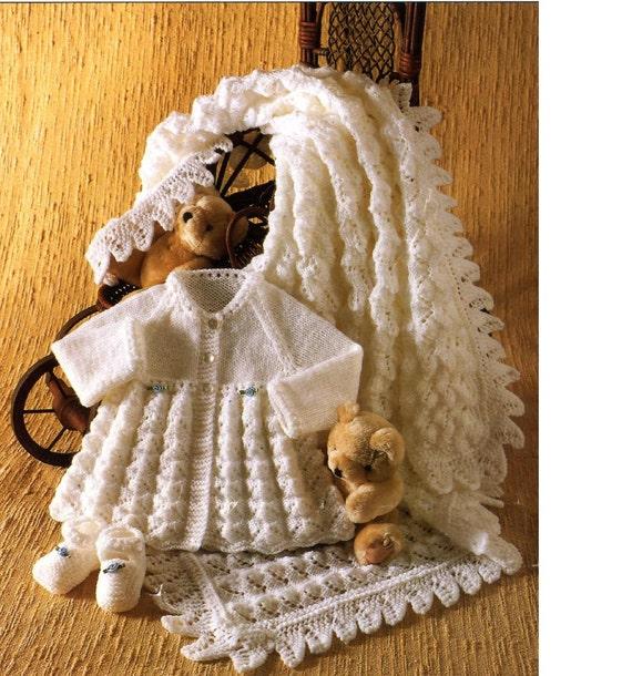 Baby Matinee Coat Knitting Patterns : Baby knitting pattern matinee coat shoes and shawl for