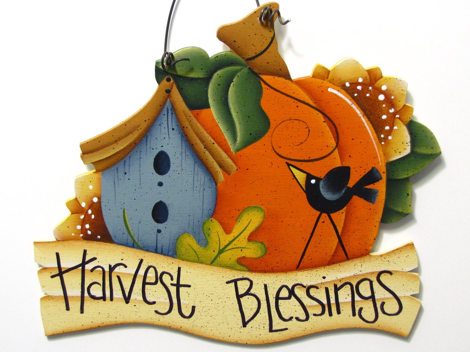 Harvest Blessings Sign Pumpkin Birdhouse Crow Handpainted