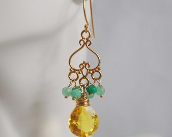 Gemstone Chandelier Earrings - Yellow Quartz Cluster Chandelier  Dangle Earrings -Chrysoprase cluster Dangle drop Earrings