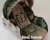 Custom Boutique Army Camo Green Infant Car Seat Cover 5 piece set